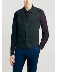 Topman Brown Textured Weave Waistcoat - Lyst