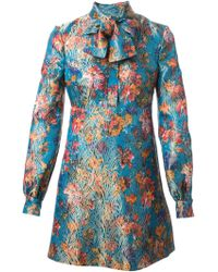 Saint Laurent Floral Jacquard Dress - Lyst