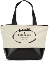 Kate Spade Heritage Spade Logo Canvas And Leather Tote - Lyst