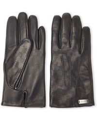BOSS - Black Perforated Leather Gloves - Lyst