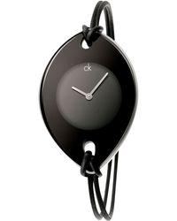 Calvin Klein Women'S Swiss Suspension Black Leather Strap 46X31Mm K3323330 - Lyst