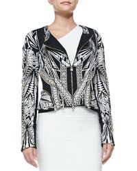 Hervé Léger Cropped Multi-zip Jacket - Lyst