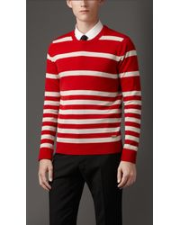 Burberry Striped Cotton Sweater - Lyst