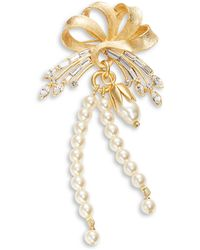 Gerard Yosca - Embellished Ribbon Faux Pearl Brooch - Lyst