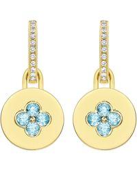 Kiki McDonough | Domino Blue Topaz Four Stone Earrings In 18k Yellow Gold | Lyst