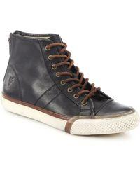 Frye Greene Leather Back-Zip High-Top Sneakers black - Lyst