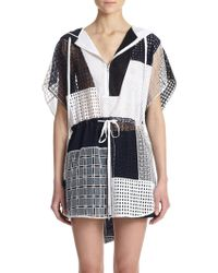 3.1 Phillip Lim Hooded Cotton Eyelet Patchwork Tunic - Lyst
