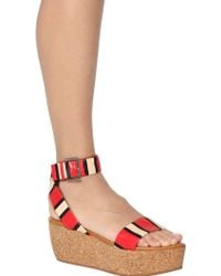 See By Chloé 70mm Patchwork Leather  Cork Sandals - Lyst