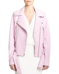Elizabeth And James Corlyn Leather Moto Jacket pink - Lyst