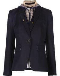 Veronica Beard | Navy Classic Jacket W/ Waffle Knit Hood Dickey Blue | Lyst