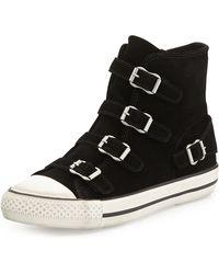 Ash Buckled Suede Hightop Sneaker - Lyst