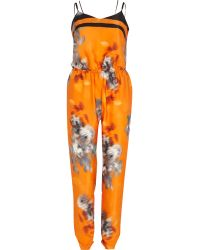 River Island Orange Blurred Print Cami Jumpsuit - Lyst