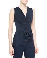 Donna Karan New York Sleeveless Ruched Jersey Top - Lyst
