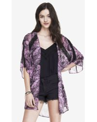 Express Fern Print Lace Inset Kimono - Lyst
