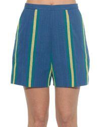 Stella Jean - Macaco Striped Cotton Shorts - Lyst