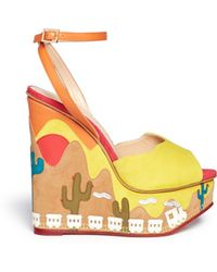 Charlotte Olympia 'Wild, Wild Wedge' Suede Platform Sandals multicolor - Lyst