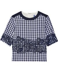 MSGM Lace-Appliquéd Gingham Cotton-Blend Top - Lyst