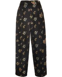 Rosetta Getty Floral Silk Wool Tapestry Pleat Front Trouser - Lyst