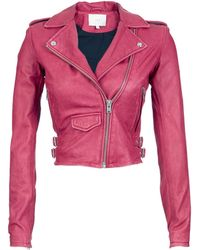 IRO Ashville Leather Long Sleeve Cropped Moto Jacket - Lyst