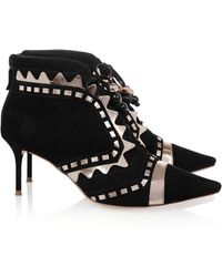 Sophia Webster Riko Metallic Leathertrimmed Suede Ankle Boots - Lyst