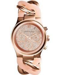Michael Kors Mini Rose Golden Stainless Steel Runway Glitz Twist Watch - Lyst