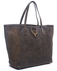 Gucci Brown Pebble Leather Stirrup Tote Bag - Lyst