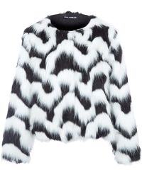 Oui, Odile! - Black And White Aurore Wave Faux Fur Jacket - Lyst