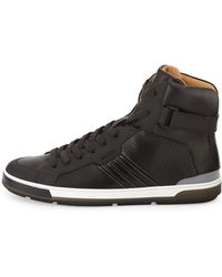 Bally Perforated Leather Hightop Sneaker Black - Lyst