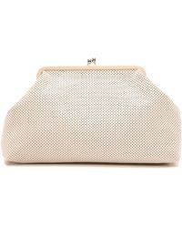 Clare V. Supreme Pierre Clutch - Cream Perf - Lyst