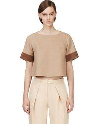 Marc Jacobs Tan Wool Felt Contrast Sleeve T-Shirt - Lyst