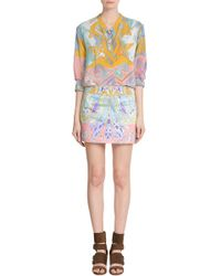 Emilio Pucci Printed Satin Mini Skirt - Lyst