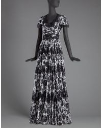 Dolce & Gabbana | Long Dress In Printed Chiffon With Lace Appliqué | Lyst