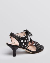 Stuart Weitzman Open Toe Sandals Circular Kitten Heel - Lyst