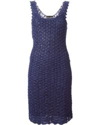 Emporio Armani Fitted Crochet Dress - Lyst