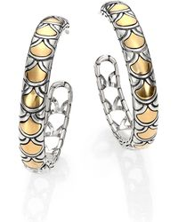 John Hardy Naga 18k Yellow Gold Sterling Silver Hoop Earrings115 - Lyst
