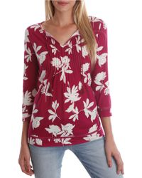 Lucky Brand Floral Print Pintucked Blouse - Lyst