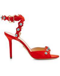 Charlotte Olympia Santa Fe Suede Embellished Sandals - Lyst