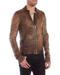 DRKSHDW by Rick Owens Brown Leather Jacket - Lyst