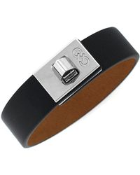Cole Haan - Signature Leather Turn-lock Bracelet, Silvertone - Lyst