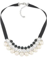Carolee Crystal and Bead Ribbon Necklace - Lyst