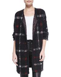 Theory Darcian Plaid Open Sweater Jacket - Lyst