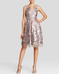 Vera Wang Dress - Sequin Lace Fit And Flare silver - Lyst