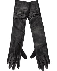 River Island Black Leather Long Gloves - Lyst