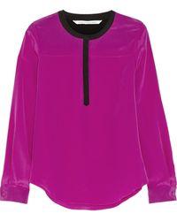 Diane Von Furstenberg Maisy Color-block Silk Blouse - Lyst