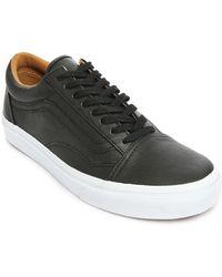 Vans Black Leather Old Skool - Lyst