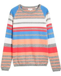 Chinti And Parker Stripe Sweater Peach - Lyst