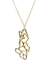Alicia Marilyn Designs 14K Gold Vertical Interwoven Pendant Necklace - Lyst