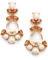 Kate Spade Faux Pearl Chandelier Earrings - Lyst