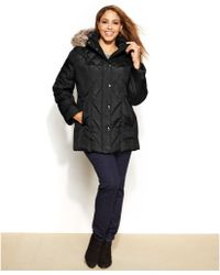 London Fog Plus Size Faux-Fur-Trim Down Puffer Jacket - Lyst