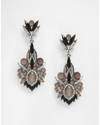Little Mistress - Black Stone Drop Earrings - Lyst